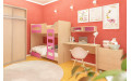 Кровать детская двухэтажная с ящиком 1924х756x602 мм (ДхГхВ) (Ясень Шимо/Фуксия)