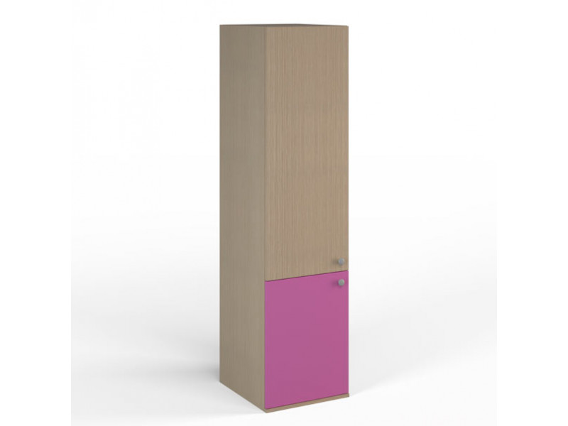 Шкаф узкий 458х504x1806 мм (ДхГхВ) (Ясень Шимо/Фуксия)