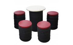 Комплект мебели Бочка (Стол Обеденный (100 литров, 4 стула-бочки)