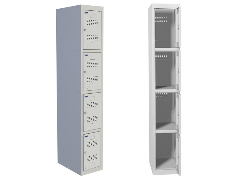 Металлический шкаф для раздевалок Практик ML 14-30 (Базовый модуль) 1830x400x500 мм (ВхШхГ)
