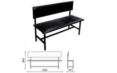 Скамейка со спинкой усиленная кожзам  (Длина 1500 мм)
