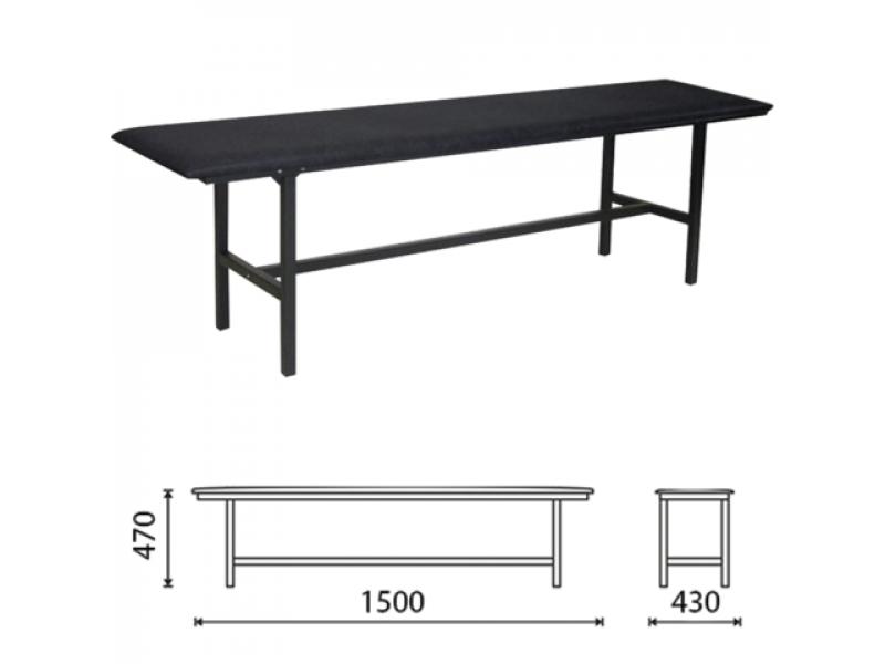 Скамейка без спинки усиленная кожзам (Черный) (Длина 1500 мм)