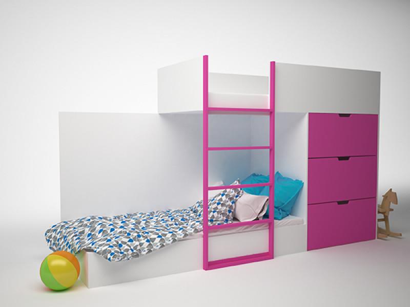 Кровать детская двухэтажная с комодом 2780x844х1600 мм (ДхГхВ)