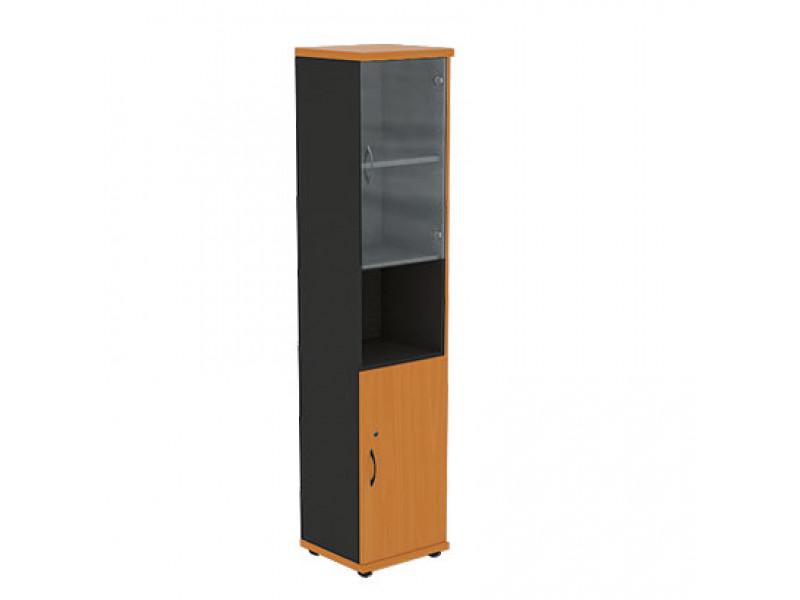 Шкаф узкий со стеклянными дверцами R5W12 404х370х1849 мм (ДхГхВ)