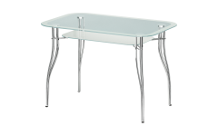 Стол стеклянный Византия-2 (Ножки хром / металли) 1100х700х770 мм (ДхГхВ)
