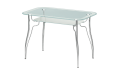 Стол стеклянный Лилия-2 (Ножки хром / металлик) 1100х700х770 мм (ДхГхВ)