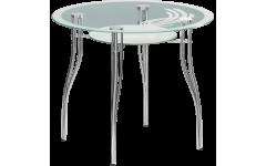 Стол стеклянный Византия (Ножки хром / металлик) 900х770 мм (ДхВ)