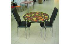Стол стеклянный Круглый с пленкой 900х750 (ДхВ)